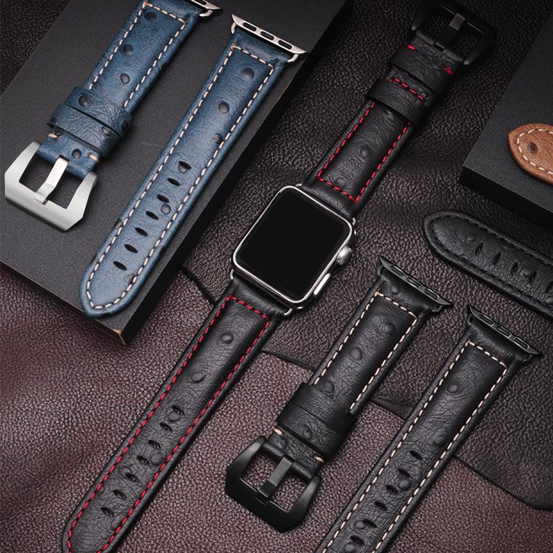 适用apple苹果 iwatch4/3/2/1代男真皮手表带潮iphone series表链
