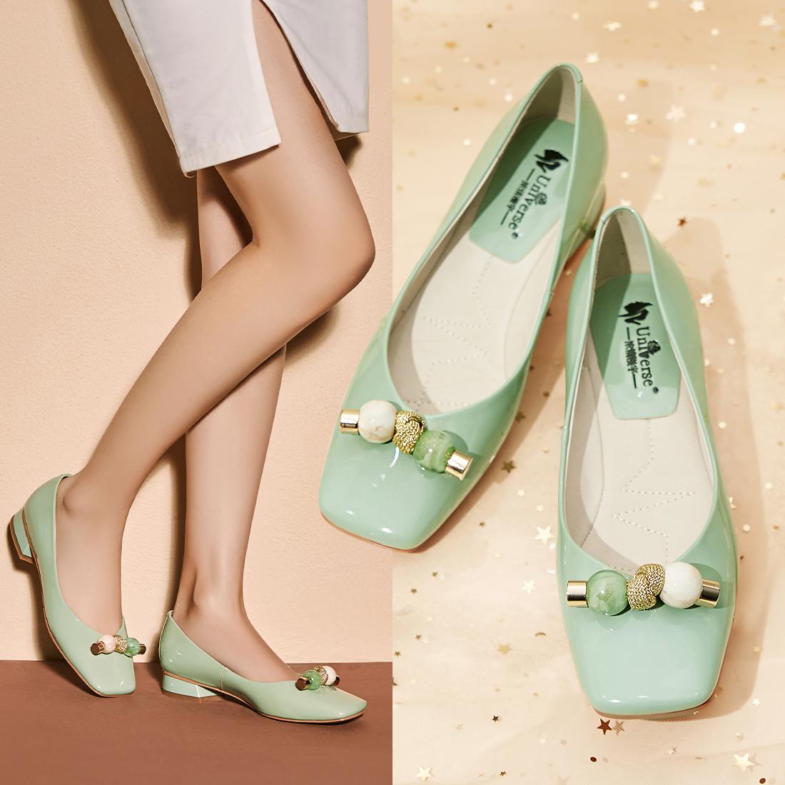 小清新单鞋小皮鞋粗跟仙女鞋浅口船鞋可爱方头软皮鞋不磨脚奶奶鞋