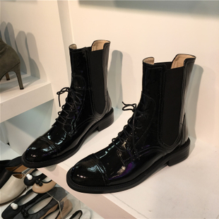韓國女鞋單靴19秋冬新款英倫復古系帶漆皮圓頭機車馬丁靴短靴子