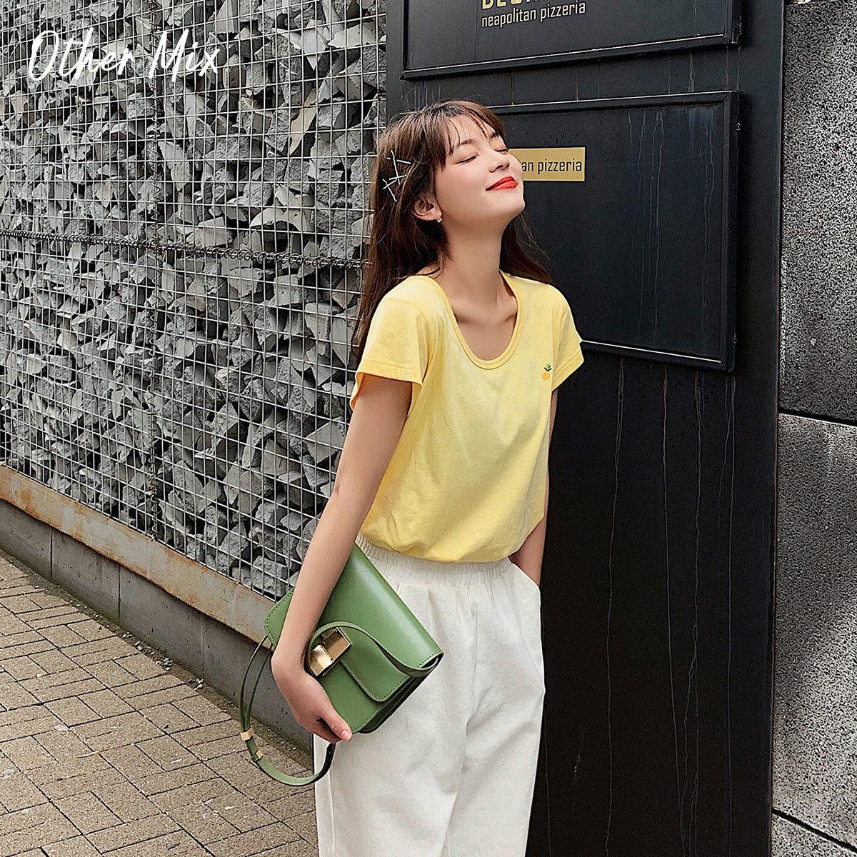 七格格古着感少女t恤港味宽松夏装2019新款韩版纯色cec短袖女上衣(用10元券)