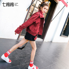 Red denim jacket popular for women in autumn 2019 new loose Korean version of student short tooling Baseball Jacket
