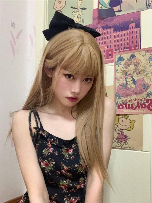 Lisa same rose wig womens medium long hair JK wig Lolita net black milk tea platinum new hair set