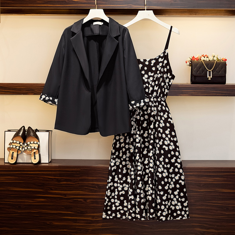 Real shooting autumn 2020 new large two-piece womens dress suit coat fat mm THIN covered belly Chiffon Skirt