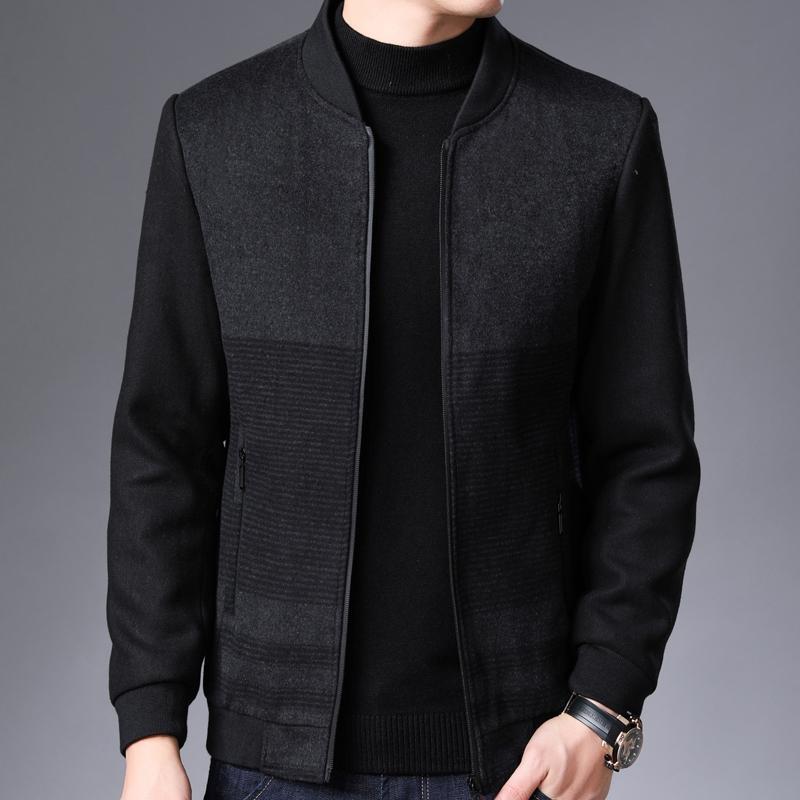 45岁男士外套春季二棉羊毛呢子短款开春加棉加厚中年爸爸夹克衫土