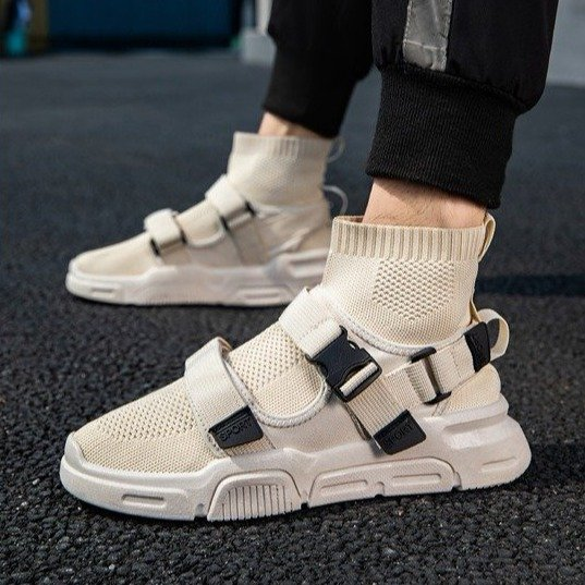 2020 summer new high top shoes mens shoes breathable tide shoes round head rubber mesh mesh buckle