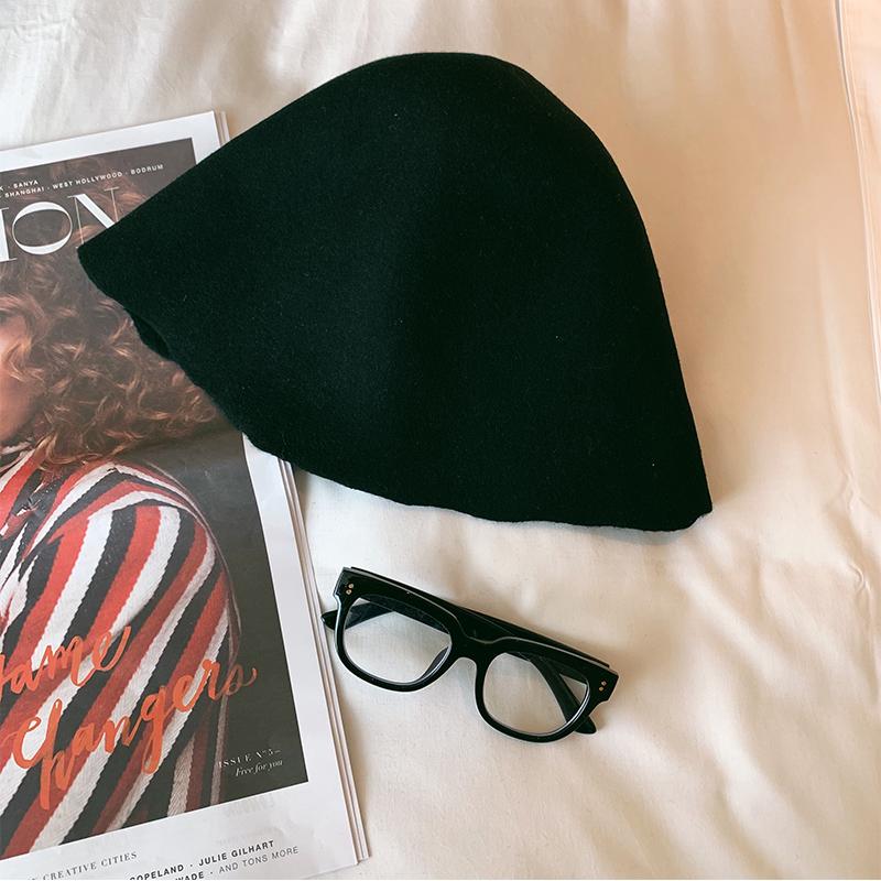 11月08日最新优惠aubabe黑色百搭可折叠羊毛呢渔夫帽