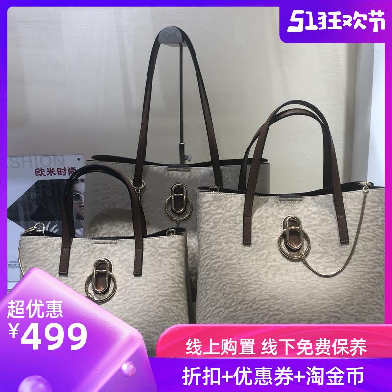 オミのバッグOMI欧米の女性のバッグの小さい牛革のトートバッグの手は提げて簡単で百合風格のins潮の専門店の同じタイプを持ちます。