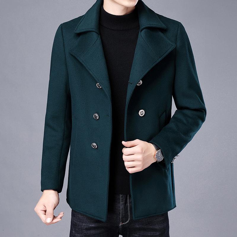 2020秋冬新款加厚毛呢大衣男士修身潮流帅气大牌英伦风衣商务外套