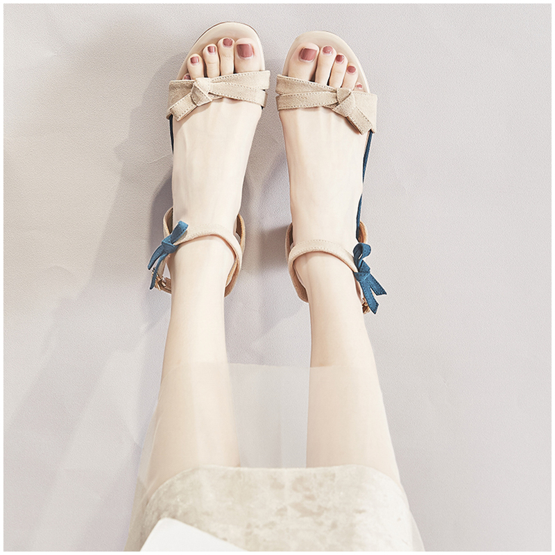 Snowy elkon High Heels Sandals fairy wind 2020 new summer Korean version versatile bow middle and Roman