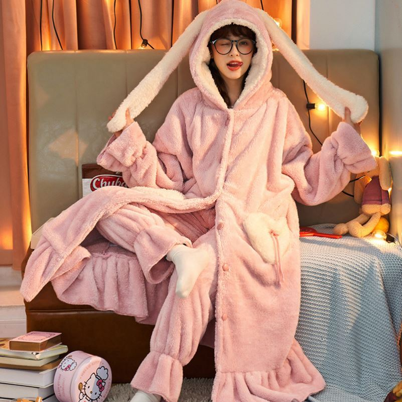 Robe, confinement, pocket pajamas, womens robe, casual two-piece robe, trousers suit, long winter to ankle