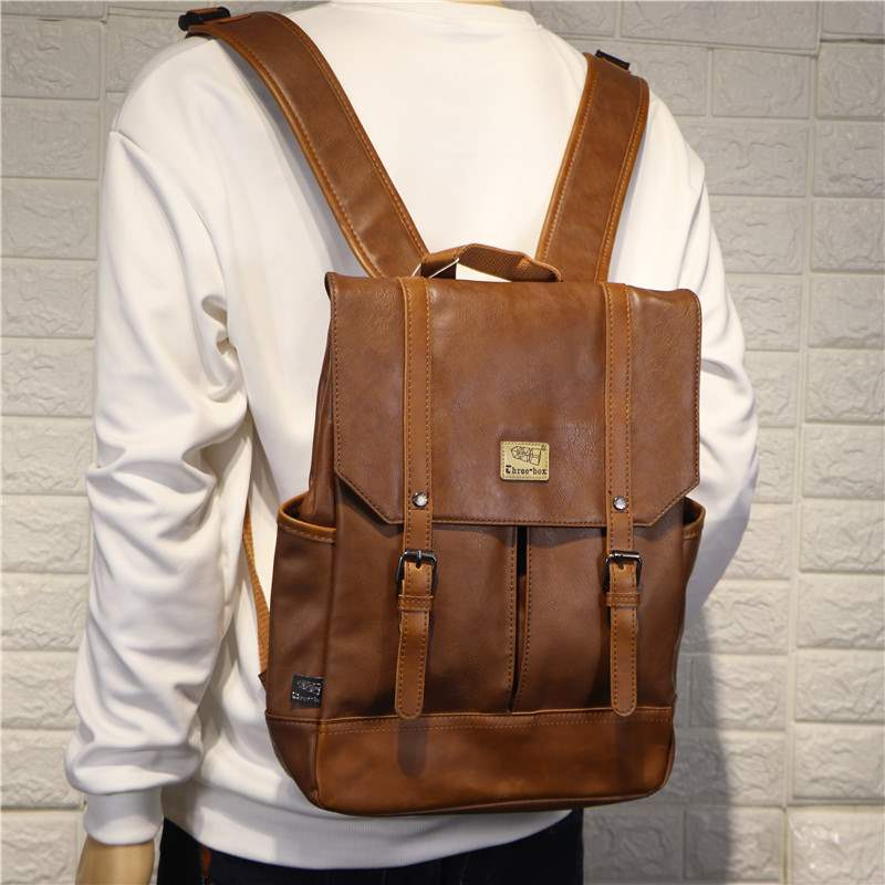 Three box fashionable mens simple mens backpack personality mens portable campus backpack outdoor mens travel bag