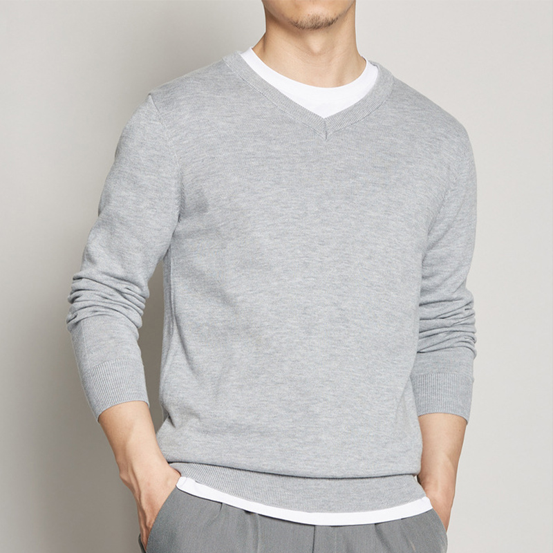 T-shirt mens V-neck thin style fall 2020 new foundation mens long sleeve sweater quality trend