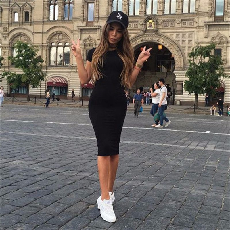 unic Crew Neck Casual Pencil Dress New Arrival drop shipping