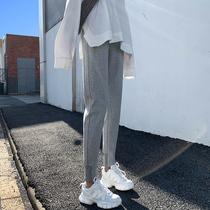 2021春秋季新款灰色运动裤女宽松束脚哈伦裤子九分小个子休闲卫裤