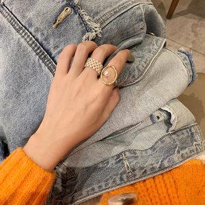 韩国ins复古个性珍珠戒指冷淡风设计感时尚百搭金属食指戒指环女