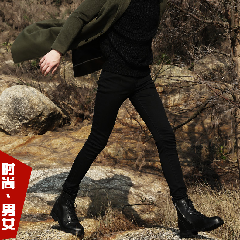 Spring mens black small leg jeans Korean version slim little feet elastic tight pencil pants fashionable men show thin national style
