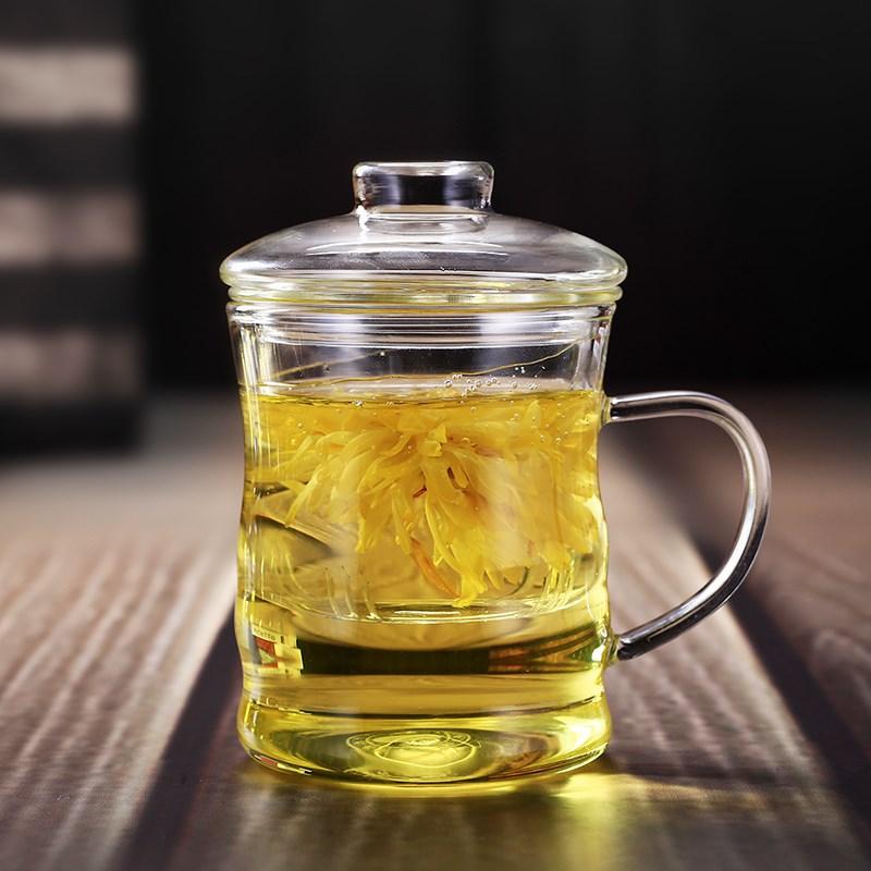 加厚高硼硅耐热玻璃杯竹节杯三件套杯透明带盖水杯过滤花茶泡茶杯