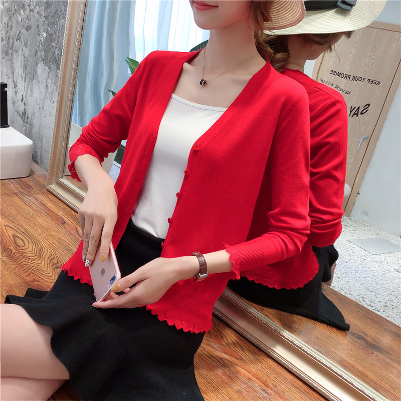 2021 new spring and autumn wear thin knitwear womens cardigan short sweater shawl coat large size top air conditioning shirt