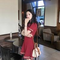 红色短袖针织连衣裙夏季新款流苏收腰显瘦气质冷淡风极简裙子