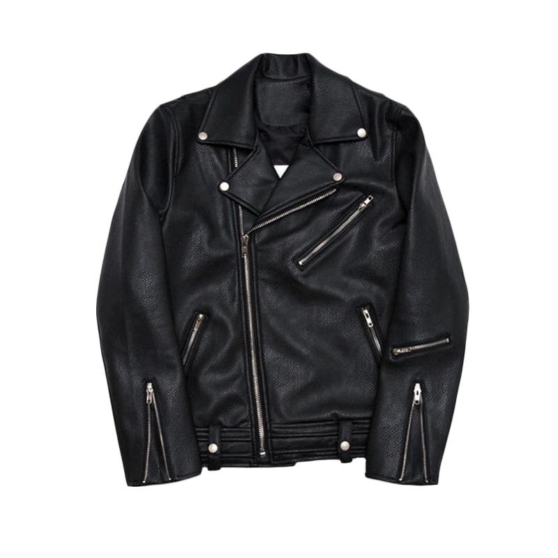 MRCYC秋季男士韩版皮衣潮流修身帅气外套青少年机车黑色皮夹克男