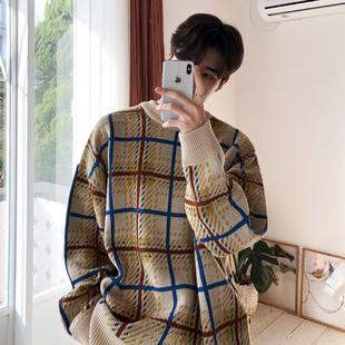 男士 MRCYC冬季 拼色格子针织衫 潮流慵懒风毛衣宽松个性 打底衫 韩版