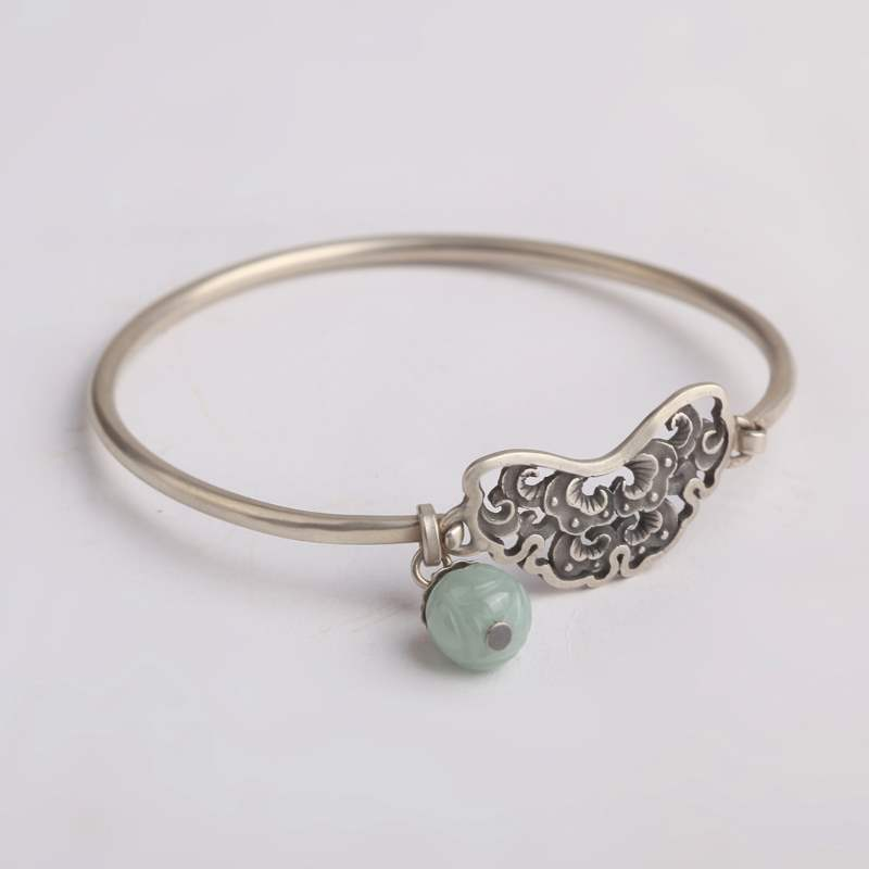 Genuine pH7 Makeup Box Silver Bracelet 925 silver classical design hand hollowed out jade beads for girlfriend and mother
