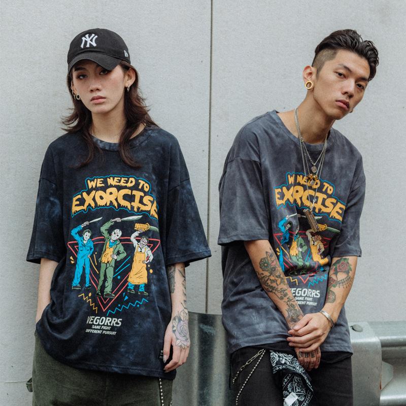 欧美嘻哈摇滚潮牌短袖男宽松复古水洗做旧印花情侣T恤男