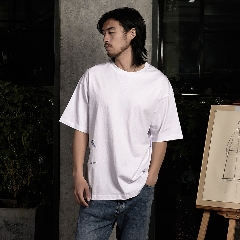 Spring / summer 2020 cotton new Japanese Swan round neck t-shirt mens loose short sleeve casual printed T-shirt