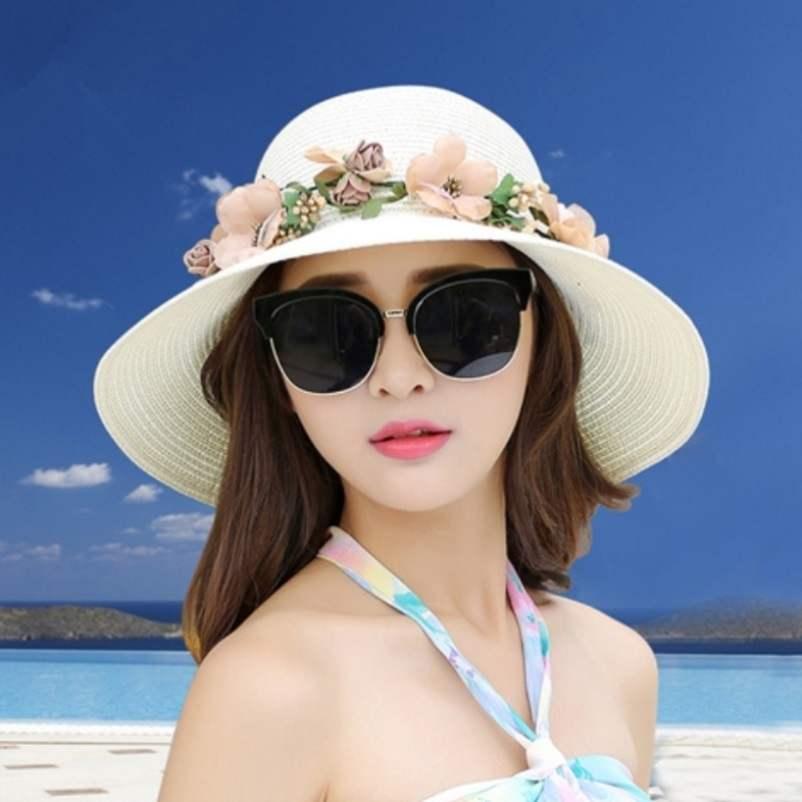 布帽妈妈日系小头孕妇海滩2021新款防晒遮阳草帽子女士夏季电瓶车