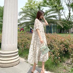 新款 时尚 孕妇连衣裙雪纺碎花长裙2020夏装 宽松仙女超仙孕妇裙潮妈