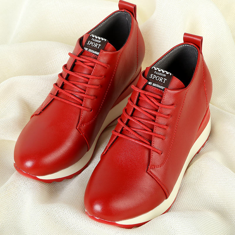 Red leather shoes 2021 autumn and winter new slope heel inner heightening womens shoes versatile leisure travel dad shoes round head single shoes