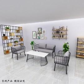 铁艺休闲北欧三件套装网红工作室沙发茶几组合会客小户型桌椅卡座图片