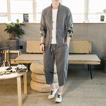 Chinese Style Men's Chinese Youth Tang Suit Large Size Han Suit Decoration Body Zhongshan Suit Linen T-shirt Two Suits for Men