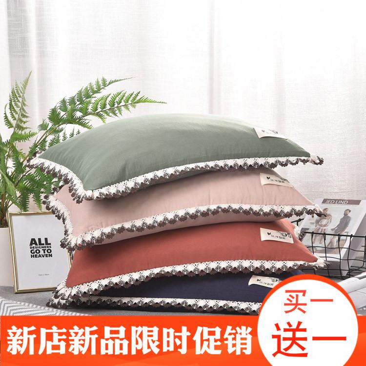 夏季新品水洗棉全荞麦壳枕头枕芯颈椎专用成人单人学生韩版花边