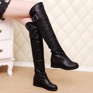 春秋靴子女高筒靴冬季加绒过膝长靴显瘦内增高女鞋大码平底长筒靴