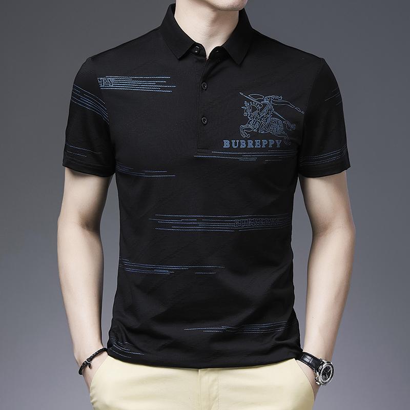 夏季男士翻领t恤polo衫短袖纯棉马标薄款潮流中年半袖印花丝光棉