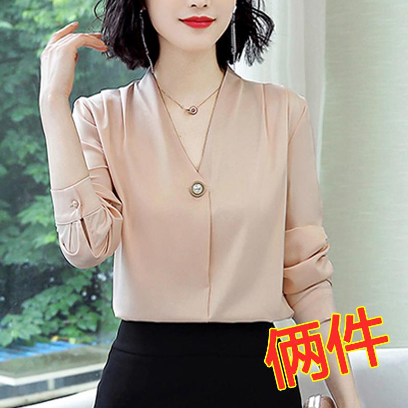 女装春装2020年新款潮气质小衫雪纺衫上衣时尚衬衫洋气长袖打底衫图片
