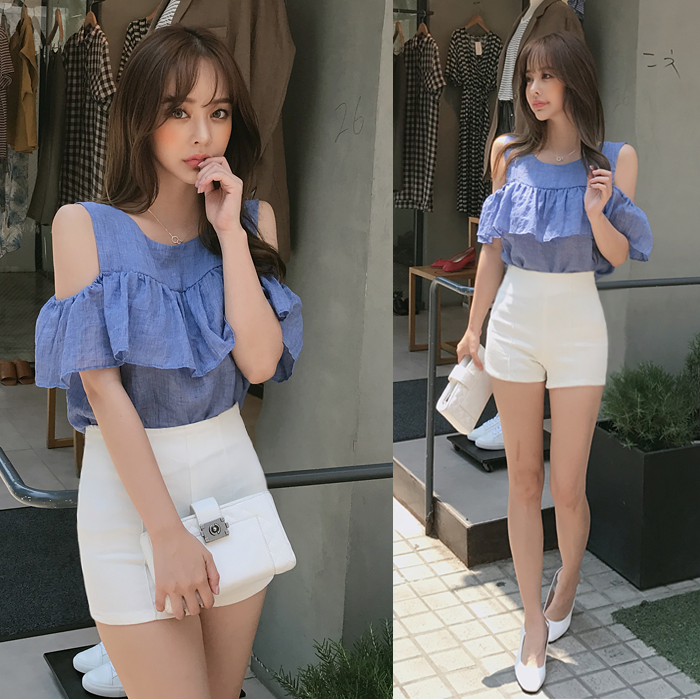 White shorts 2017 new Korean AA high waisted shorts slim and tight elastic hot pants summer womens cotton