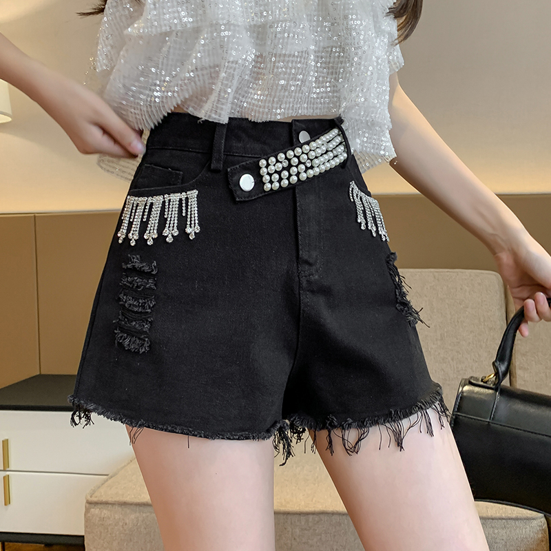 Aiyifu Meiji denim shorts womens new spring and summer fashion high waist heavy industry nail beads show thin outer wear boots pants a