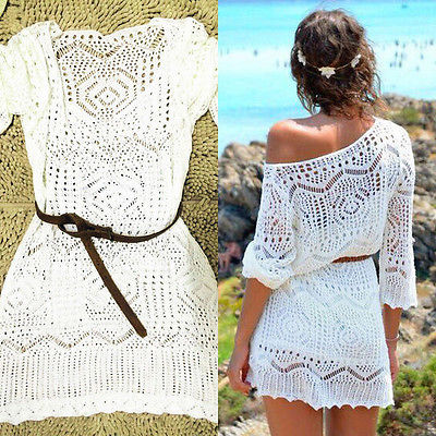 White Knit Cover Up Women Summer Sexy Lace Crochet Bikini Be,可领取元淘宝优惠券