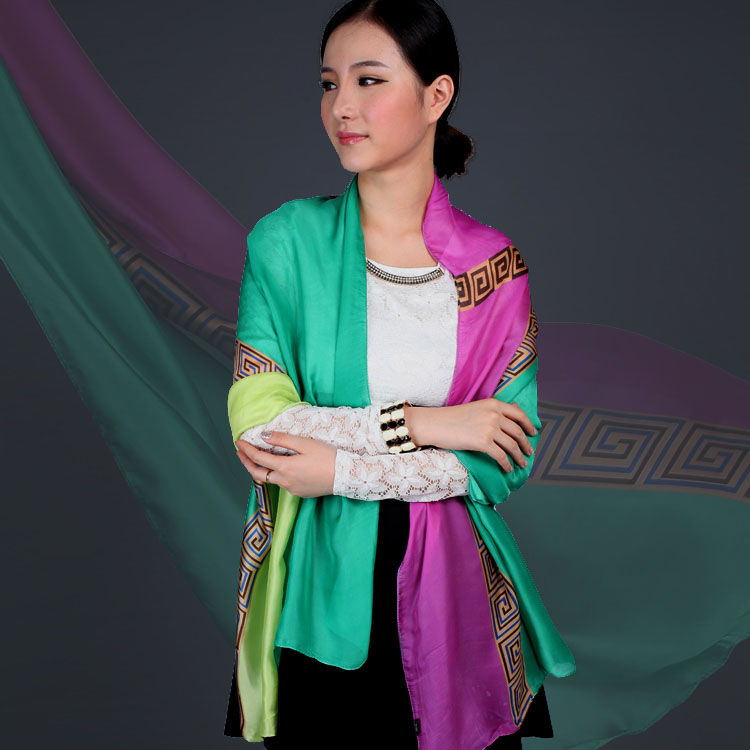 Color contrast Satin Silk Scarf womens long national style color matching scarf shawl for sun protection