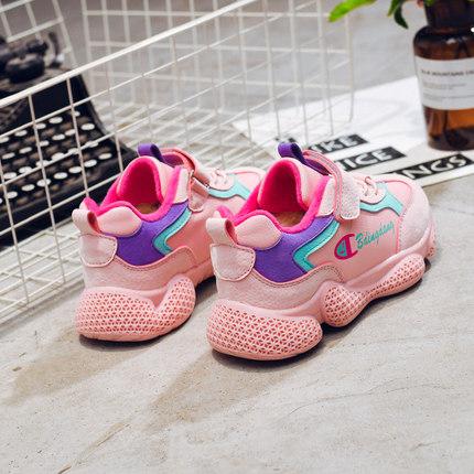 女童运动鞋ins超火的鞋子儿童2018秋冬新款加绒网红老爹鞋女童鞋