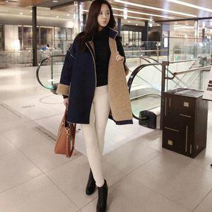 日本购秋冬韩版羊羔毛外套女中长款牛仔毛呢外套加绒加厚棉衣鹿皮