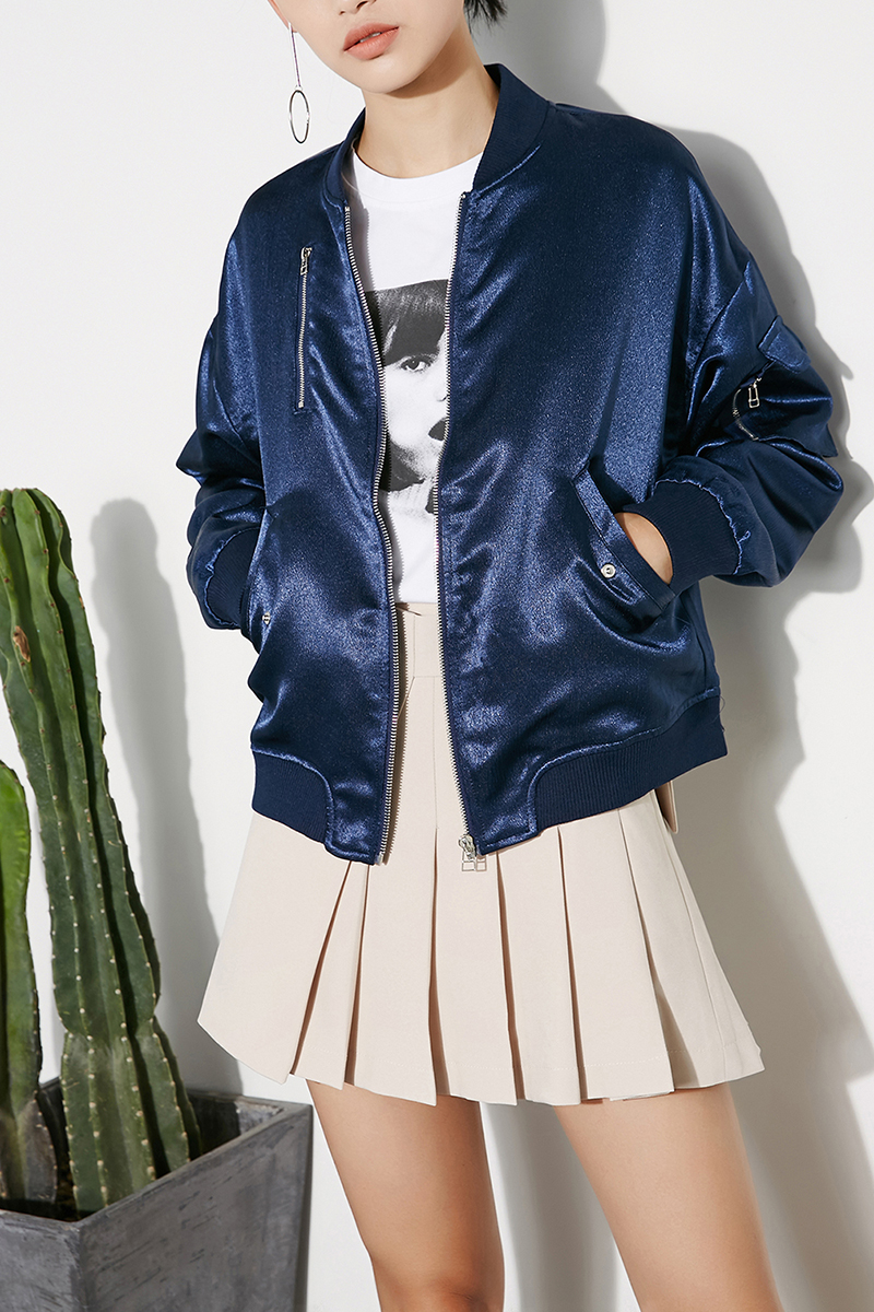 Europe and the United States fashion fall 2017 new brand handsome BF style Satin Baseball Jacket Womens loose jacket flying jacket