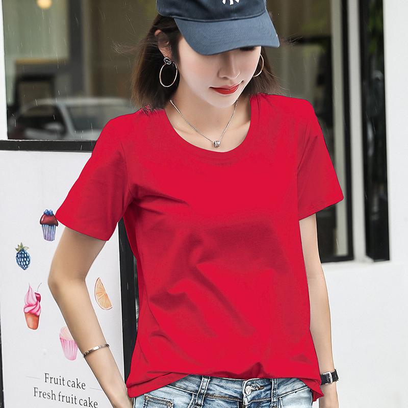 纯棉大红色女短袖宽松大码女装t恤(用39.2元券)