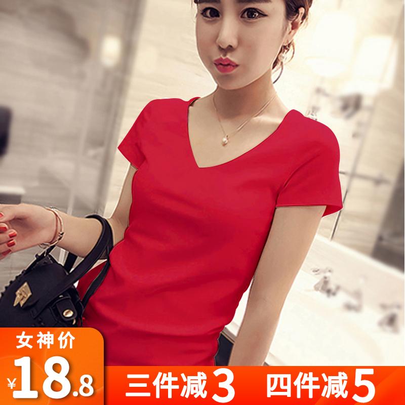 纯棉红色女短袖修身夏女装潮v领t恤