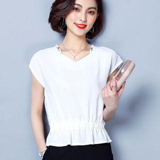 2021夏新款女装上衣短袖V领雪纺衫松紧收腰短装衬衫韩版潮遮肚子