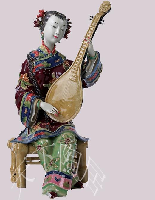 陶瓷工艺品家居摆设石湾公仔新房礼品饰品艺术客厅摆件 乐韵悠杨