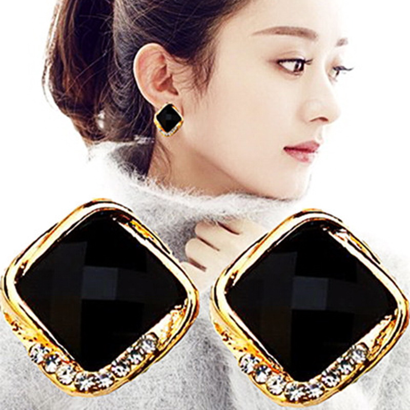 925 silver needle with all kinds of Square Earrings, Zhao Liying, female, same earrings, workplace temperament, earrings, Korean Earrings