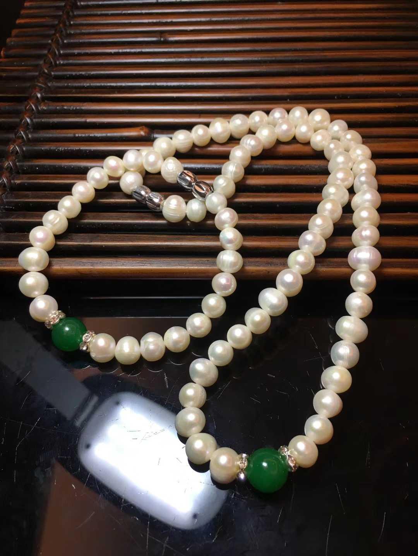 静姐天然真珠最新の淡水真珠のネックレスのブレスレット2点セットの緑瑪瑙玉の強い光の真珠のセット